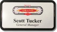 A Custom Printed Name Tag, Name badge (personalization included) Magnetic avail.